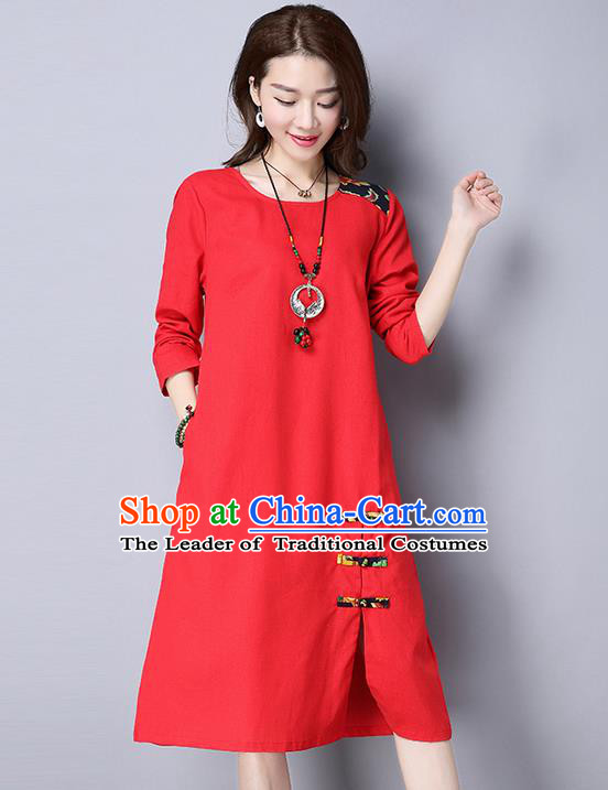 Traditional Ancient Chinese National Costume, Elegant Hanfu Mandarin Qipao Linen Red Dress, China Tang Suit Chirpaur Upper Outer Garment Elegant Dress Clothing for Women