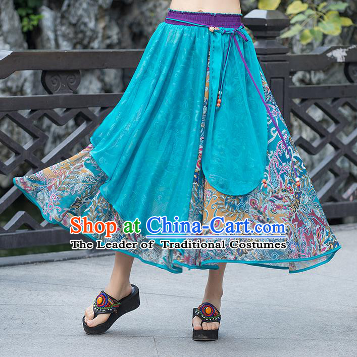 Traditional Ancient Chinese National Pleated Skirt Costume, Elegant Hanfu Chiffon Multicolor Dress, China Tang Dynasty Bust Skirt for Women