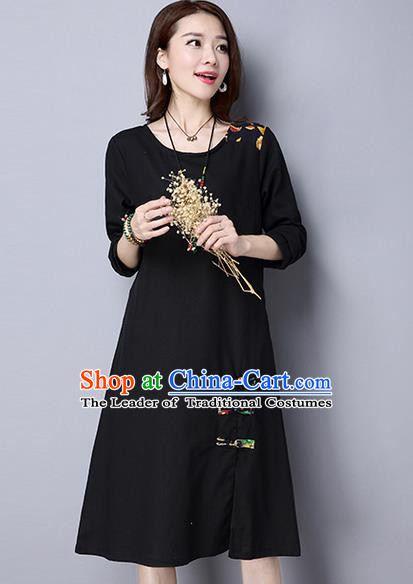 Traditional Ancient Chinese National Costume, Elegant Hanfu Mandarin Qipao Linen Black Dress, China Tang Suit Chirpaur Upper Outer Garment Elegant Dress Clothing for Women