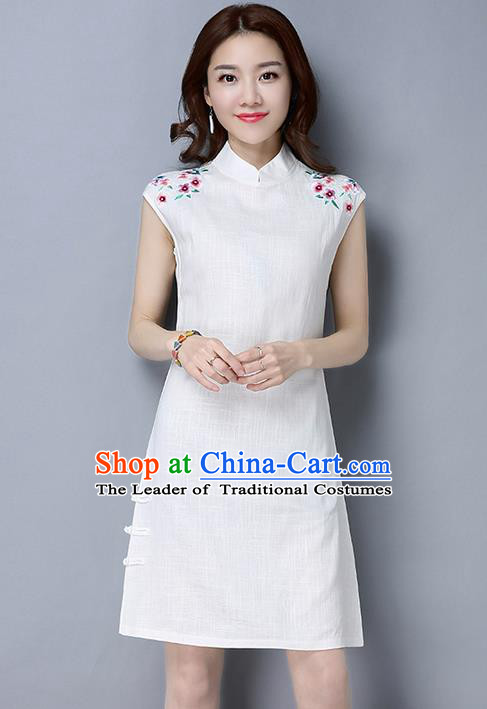 Traditional Ancient Chinese National Costume, Elegant Hanfu Mandarin Qipao Embroidery White Short Dress, China Tang Suit Chirpaur Republic of China Cheongsam Upper Outer Garment Elegant Dress Clothing for Women