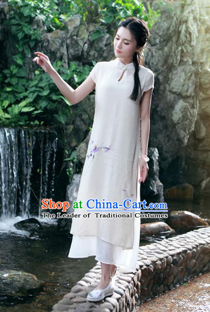 Traditional Ancient Chinese National Costume, Elegant Hanfu Mandarin Qipao Painting Lotus Apricot Dress, China Tang Suit Chirpaur Republic of China Cheongsam Upper Outer Garment Elegant Dress Clothing for Women