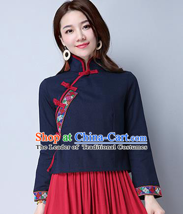 Traditional Chinese National Costume, Elegant Hanfu Embroidery Cross-Stitch Navy Shirt, China Tang Suit Republic of China Plated Buttons Blouse Cheongsam Upper Outer Garment Qipao Shirts Clothing for Women
