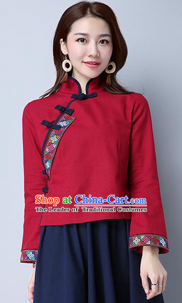 Traditional Chinese National Costume, Elegant Hanfu Embroidery Cross-Stitch Red Shirt, China Tang Suit Republic of China Plated Buttons Blouse Cheongsam Upper Outer Garment Qipao Shirts Clothing for Women