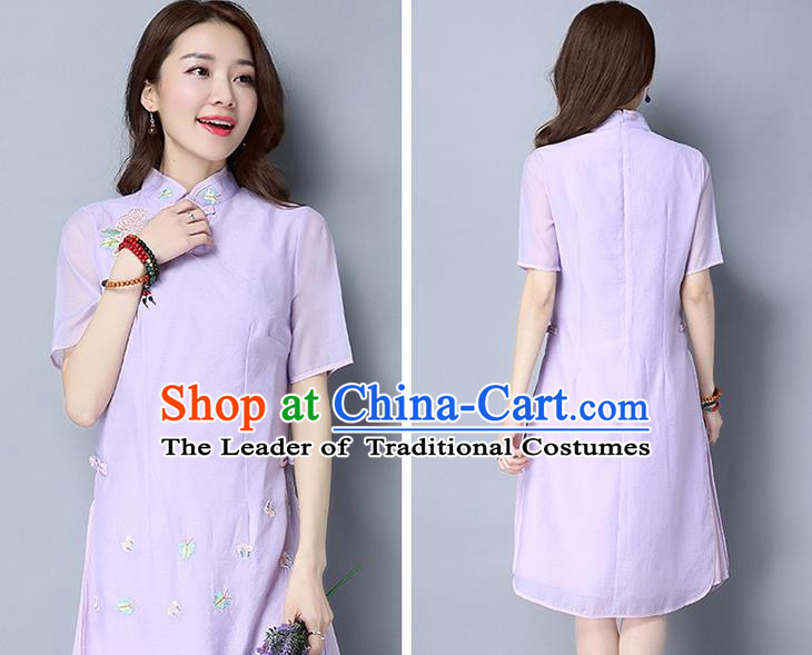Traditional Ancient Chinese National Costume, Elegant Hanfu Mandarin Qipao Embroidery Stand Collar Purple Dress, China Tang Suit Chirpaur Republic of China Cheongsam Upper Outer Garment Elegant Dress Clothing for Women