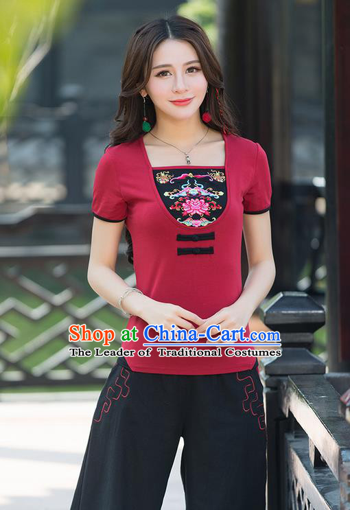 Traditional Chinese National Costume, Elegant Hanfu Embroidery Flowers Chinese-Style Chest Covering Model Red T-Shirt, China Tang Suit Republic of China Plated Buttons Blouse Cheongsam Upper Outer Garment Qipao Shirts Clothing for Women