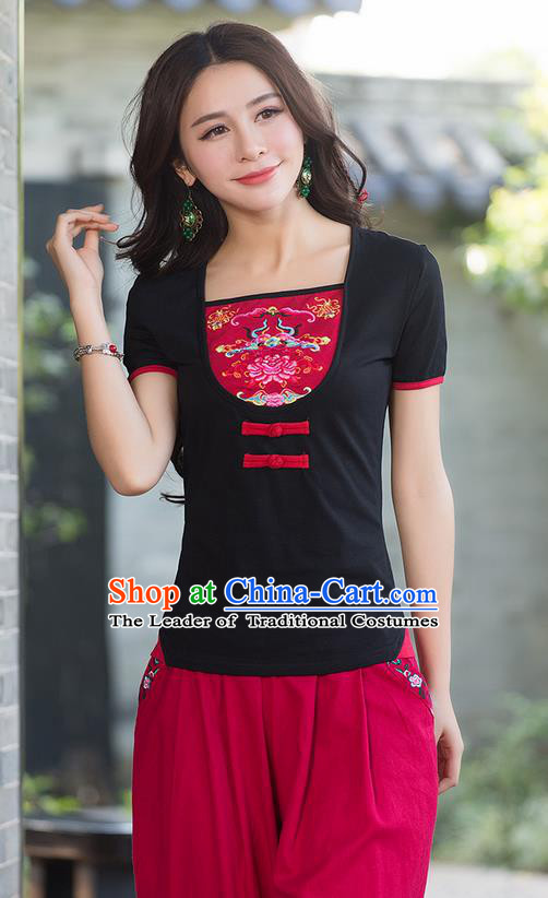 Traditional Chinese National Costume, Elegant Hanfu Embroidery Flowers Chinese-Style Chest Covering Model Black T-Shirt, China Tang Suit Republic of China Plated Buttons Blouse Cheongsam Upper Outer Garment Qipao Shirts Clothing for Women