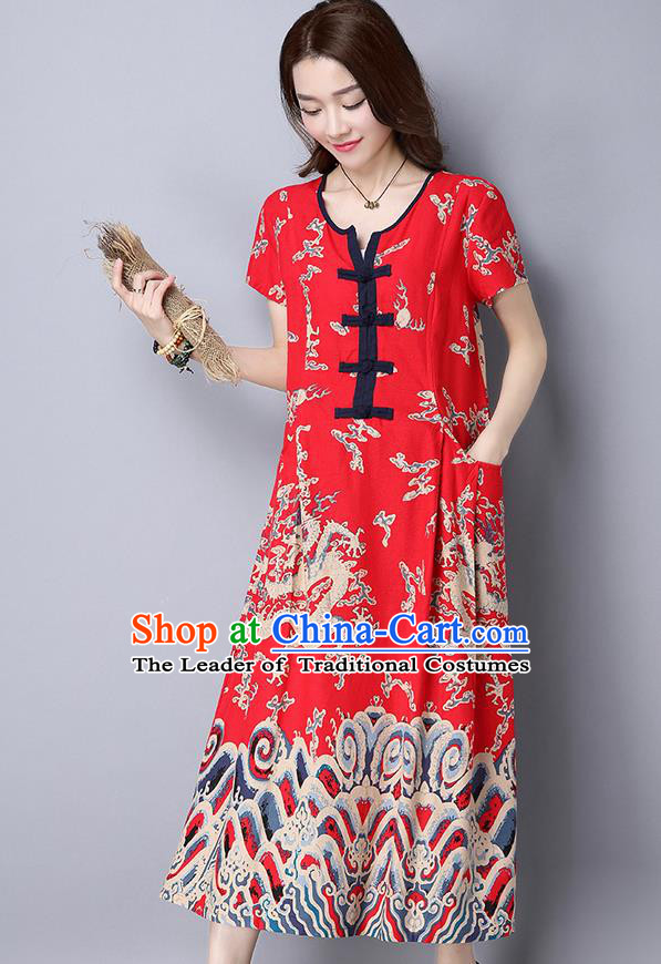 Traditional Ancient Chinese National Costume, Elegant Hanfu Linen Painting Red Long Dress, China Tang Suit Chirpaur Republic of China Cheongsam Upper Outer Garment Elegant Dress Clothing for Women