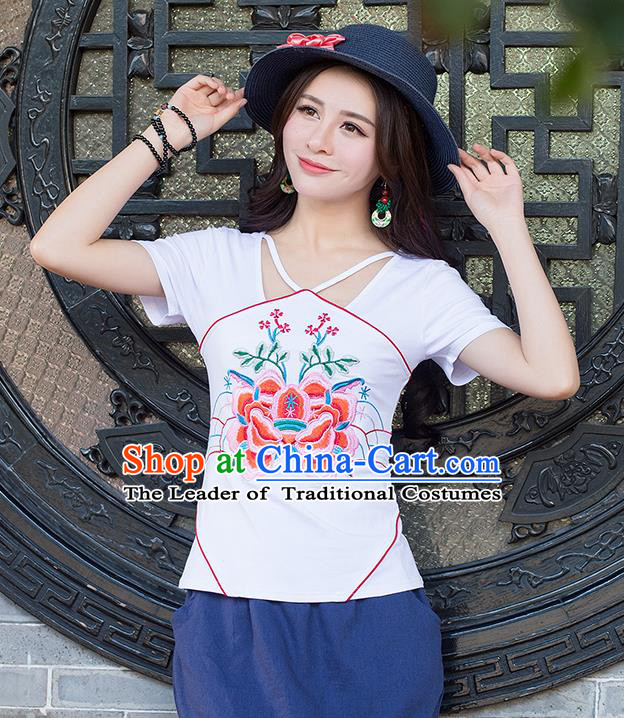Traditional Chinese National Costume, Elegant Hanfu Embroidery Flowers Condole Belt Chinese-Style Chest Covering White T-Shirt, China Tang Suit Republic of China Plated Buttons Blouse Cheongsam Upper Outer Garment Qipao Shirts Clothing for Women