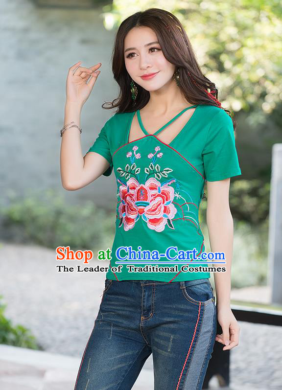 Traditional Chinese National Costume, Elegant Hanfu Embroidery Flowers Condole Belt Chinese-Style Chest Covering Green T-Shirt, China Tang Suit Republic of China Plated Buttons Blouse Cheongsam Upper Outer Garment Qipao Shirts Clothing for Women