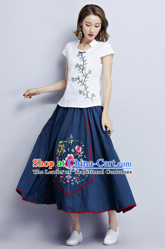 Traditional Ancient Chinese National Pleated Skirt Costume, Elegant Hanfu Embroidery Long Navy Dress, China Tang Dynasty Bust Skirt for Women