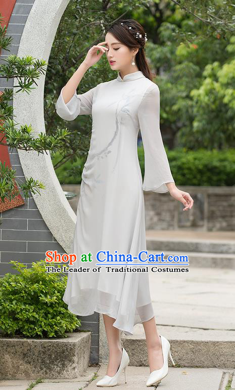 Traditional Ancient Chinese National Costume, Elegant Hanfu Mandarin Qipao Linen Double Layer Grey Dress, China Tang Suit Stand Collar Chirpaur Republic of China Cheongsam Upper Outer Garment Elegant Dress Clothing for Women