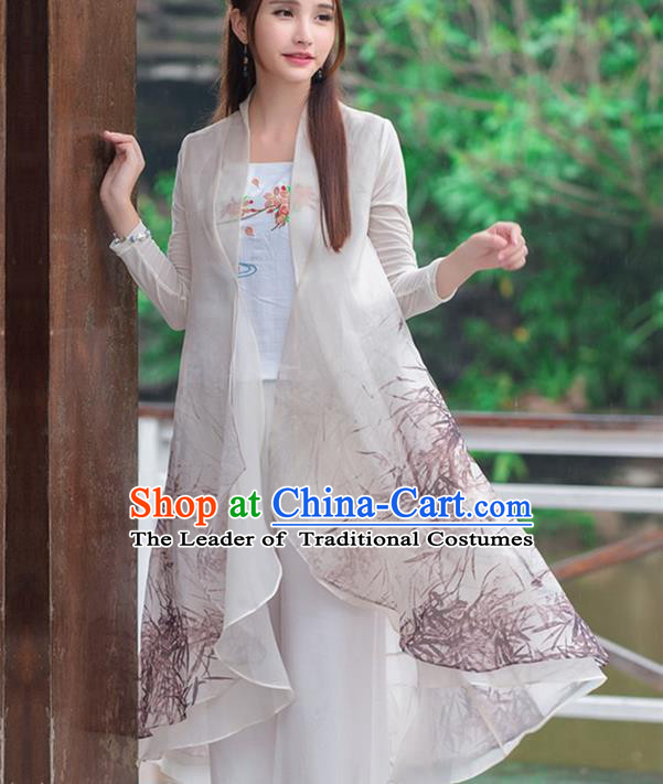 Traditional Ancient Chinese National Costume, Elegant Hanfu Cardigan Coat, China Tang Suit Plated Buttons Ink Painting Cape, Upper Outer Garment Dust Coat Cloak Clothing for Women