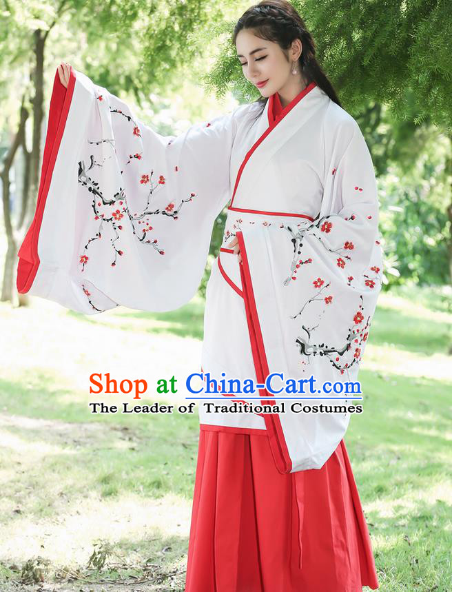 Traditional Ancient Chinese Costume, Elegant Hanfu Clothing Slant Opening Cardigan Blouse and Dress, China Han Dynasty Princess Elegant Dress Complete Set for Women