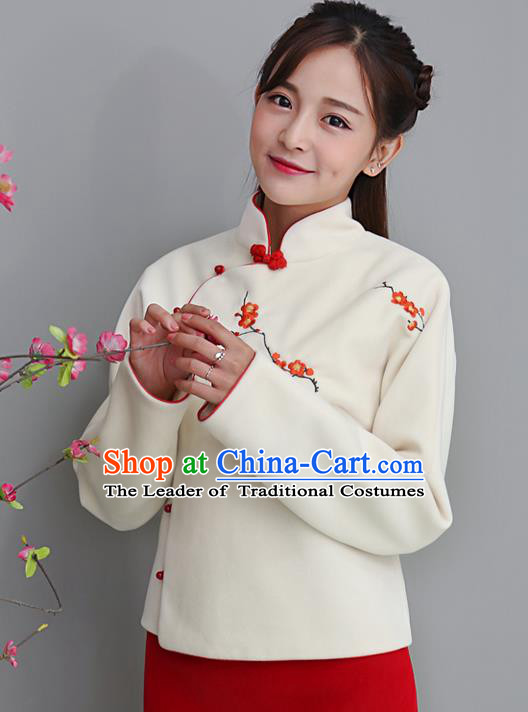 Traditional Chinese National Costume, Elegant Hanfu Embroidery Flowers Slant Opening Woolen Coat, China Tang Suit Republic of China Plated Buttons Jacket Cheongsam Upper Outer Garment Qipao Shirts Clothing for Women