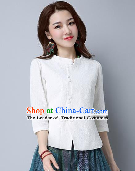 Traditional Chinese National Costume, Elegant Hanfu Slant Opening White Shirt, China Tang Suit Republic of China Stand Collar Blouse Cheongsam Upper Outer Garment Qipao Shirts Clothing for Women