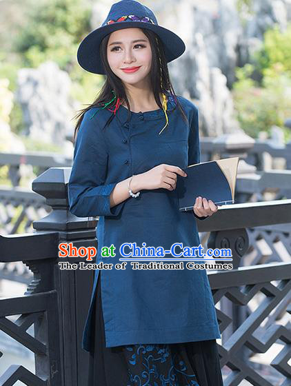 Traditional Chinese National Costume, Elegant Hanfu Embroidery Slant Opening Long Navy Shirt, China Tang Suit Republic of China Plated Buttons Blouse Cheongsam Upper Outer Garment Qipao Shirts Clothing for Women