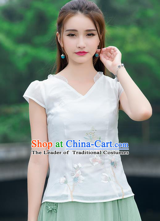 Traditional Chinese National Costume, Elegant Hanfu Embroidery Chiffon Shirt, China Tang Suit Republic of China Blouse Cheongsam Upper Outer Garment Qipao Shirts Clothing for Women