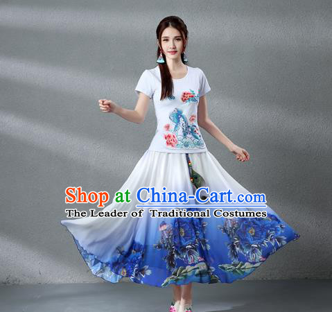 Traditional Ancient Chinese National Pleated Skirt Costume, Elegant Hanfu Chiffon Peacock Feathers Painting Peony Dress, China Tang Dynasty Big Swing Bust Skirt for Women