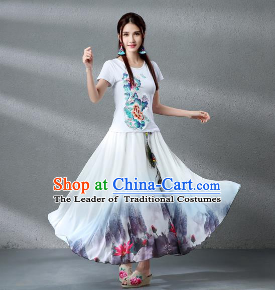 Traditional Ancient Chinese National Pleated Skirt Costume, Elegant Hanfu Chiffon Peacock Feathers Ink Painting Lotus White Dress, China Tang Dynasty Big Swing Bust Skirt for Women