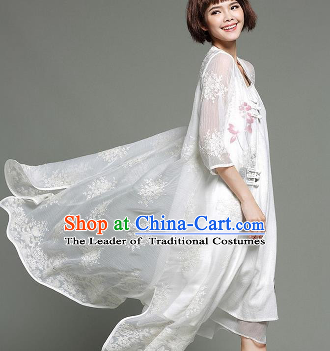 Traditional Ancient Chinese National Costume, Elegant Hanfu Chiffon Cardigan Coat, China Embroidery Cape, Upper Outer Garment Dust Coat Cloak Clothing for Women