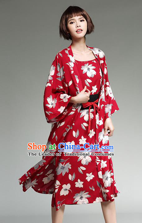 Traditional Ancient Japanese National Costume, Elegant Kimono Cardigan Clothing for Women