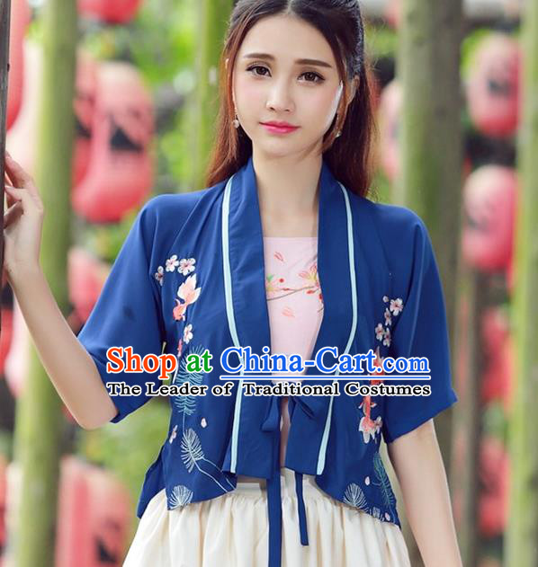 Traditional Ancient Chinese National Costume, Elegant Hanfu Embroidery Cardigan Coat, China Tang Suit Blue Cape, Upper Outer Garment Coat Cloak Clothing for Wome