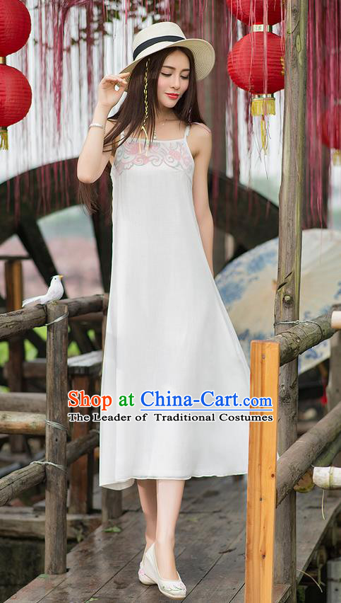 Traditional Ancient Chinese National Costume, Elegant Hanfu Embroidery White Dress, China Tang Suit Cheongsam Upper Outer Garment Elegant Braces Dress Clothing for Women