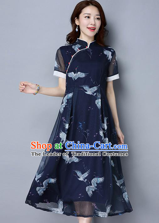 Traditional Ancient Chinese National Costume, Elegant Hanfu Mandarin Qipao Printing Crane Navy Dress, China Tang Suit Chirpaur Republic of China Cheongsam Upper Outer Garment Elegant Dress Clothing for Women