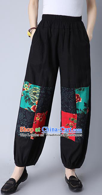 Traditional Chinese National Costume Plus Fours, Elegant Hanfu Patch Black Bloomers, China Ethnic Minorities Tang Suit Folk Dance Pantalettes for Women