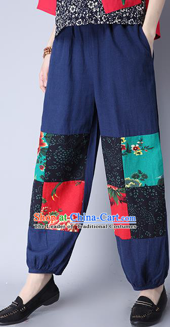 Traditional Chinese National Costume Plus Fours, Elegant Hanfu Patch Navy Bloomers, China Ethnic Minorities Tang Suit Folk Dance Pantalettes for Women
