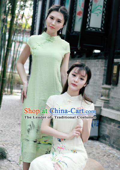 Traditional Ancient Chinese National Costume, Elegant Hanfu Mandarin Qipao Linen Hand Painting Orchid Green Dress, China Tang Suit Chirpaur Republic of China Cheongsam Upper Outer Garment Elegant Dress Clothing for Women