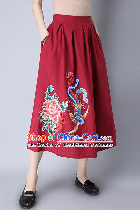Traditional Ancient Chinese National Pleated Skirt Costume, Elegant Hanfu Linen Embroidery Peony Phoenix Long Red Dress, China Tang Suit Bust Skirt for Women