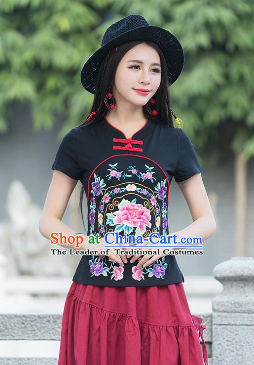 Traditional Chinese National Costume, Elegant Hanfu Embroidery Flowers Black T-Shirt, China Tang Suit Republic of China Plated Buttons Blouse Cheongsam Upper Outer Garment Qipao Shirts Clothing for Women