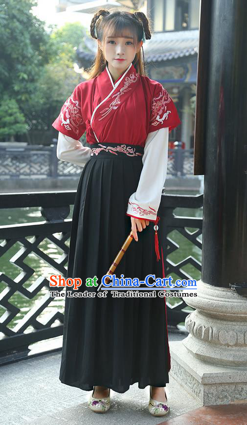 Traditional Ancient Chinese Costume, Elegant Hanfu Clothing Embroidered Slant Opening Blouse and Dress, China Ming Dynasty Young Lady Elegant Red Cardigan Blouse and Skirt Complete Set for Women