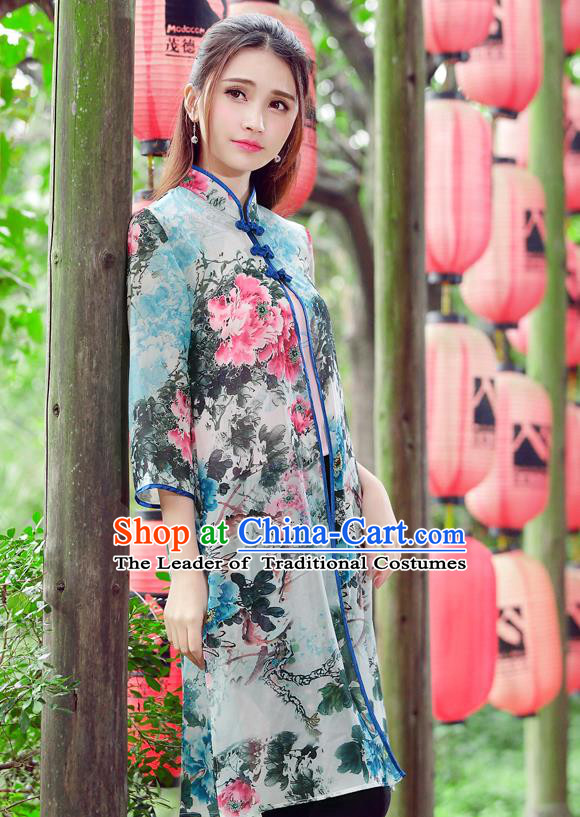 Traditional Ancient Chinese National Costume, Elegant Hanfu Cardigan Coat, China Tang Suit Plated Buttons Ink Painting Cape, Upper Outer Garment Cloak Clothing for Women