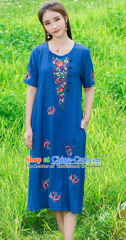 Traditional Ancient Chinese National Costume, Elegant Hanfu Mandarin Qipao Linen Embroidery Blue Dress, China Tang Suit Upper Outer Garment Elegant Dress Clothing for Women