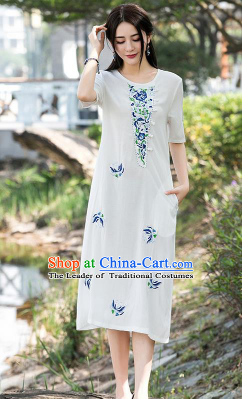 Traditional Ancient Chinese National Costume, Elegant Hanfu Mandarin Qipao Linen Embroidery White Dress, China Tang Suit Upper Outer Garment Elegant Dress Clothing for Women