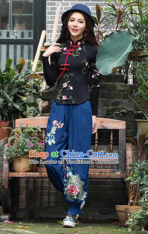 Traditional Chinese National Costume Plus Fours, Elegant Hanfu Patch Embroidery Butterfly Navy Bloomers, China Ethnic Minorities Folk Dance Tang Suit Pantalettes for Women