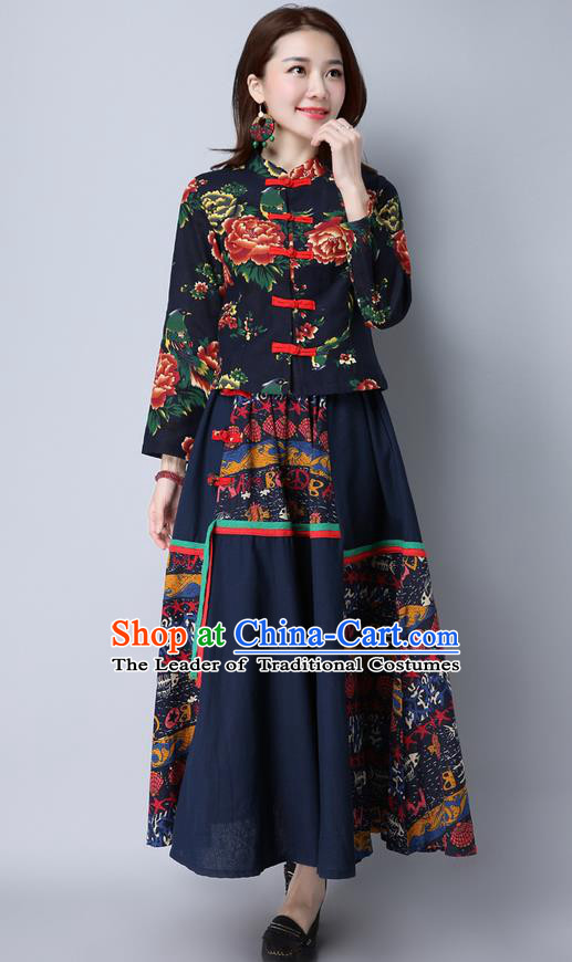 Traditional Ancient Chinese National Costume, Elegant Hanfu Stand Collar Black Jacket, China Tang Suit Plated Buttons Coat, Upper Outer Garment Coat Clothing for Women