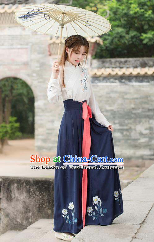 Traditional Ancient Chinese Costume, Elegant Hanfu Clothing Embroidered Blouse and Dress, China Ming Dynasty Young Lady Elegant Blouse and Skirt Complete Set for Women