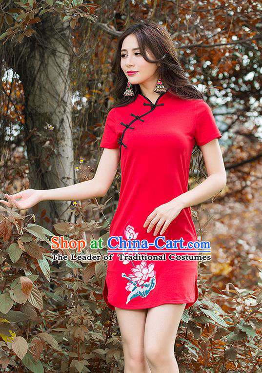 Traditional Ancient Chinese National Costume, Elegant Hanfu Slant Collar Mandarin Qipao Embroidery Red Dress, China Tang Suit Stand Collar Chirpaur Republic of China Cheongsam Upper Outer Garment Elegant Dress Clothing for Women