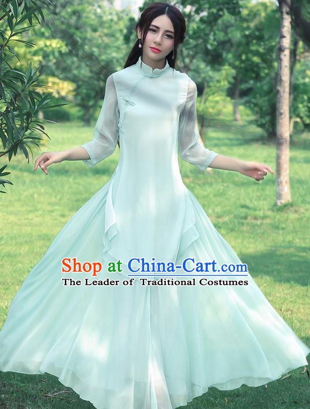 Traditional Chinese National Costume, Elegant Hanfu Silk Slant Opening Long Green Blouse, China Tang Suit Republic of China Plated Buttons Blouse Cheongsam Upper Outer Garment Qipao Shirts Clothing for Women