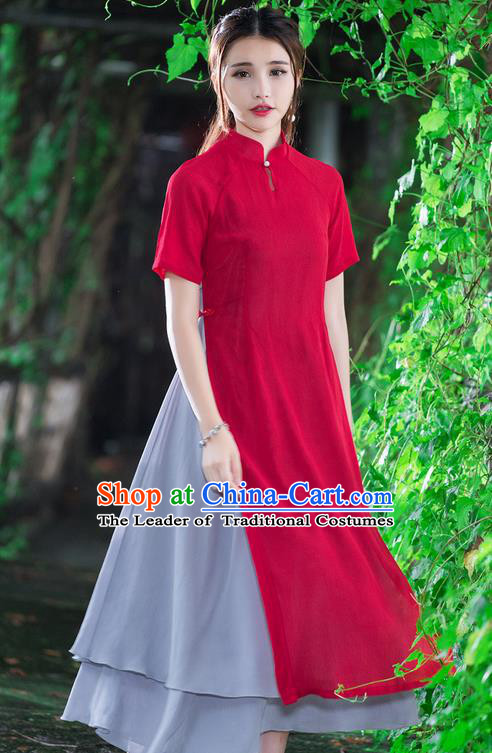 Traditional Ancient Chinese National Costume, Elegant Hanfu Mandarin Qipao Stand Collar Red Dress, China Tang Suit Ao Dai Chirpaur Republic of China Cheongsam Upper Outer Garment Elegant Dress Clothing for Women