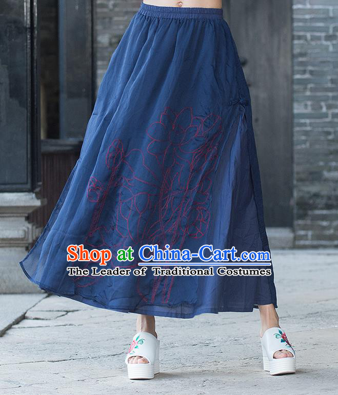 Traditional Ancient Chinese National Pleated Skirt Costume, Elegant Hanfu Embroidery Double-Deck Long Navy Dress, China Tang Dynasty Big Swing Bust Skirt for Women