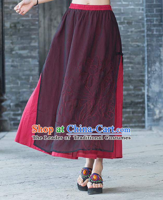 Traditional Ancient Chinese National Pleated Skirt Costume, Elegant Hanfu Embroidery Double-Deck Long Red Dress, China Tang Dynasty Big Swing Bust Skirt for Women