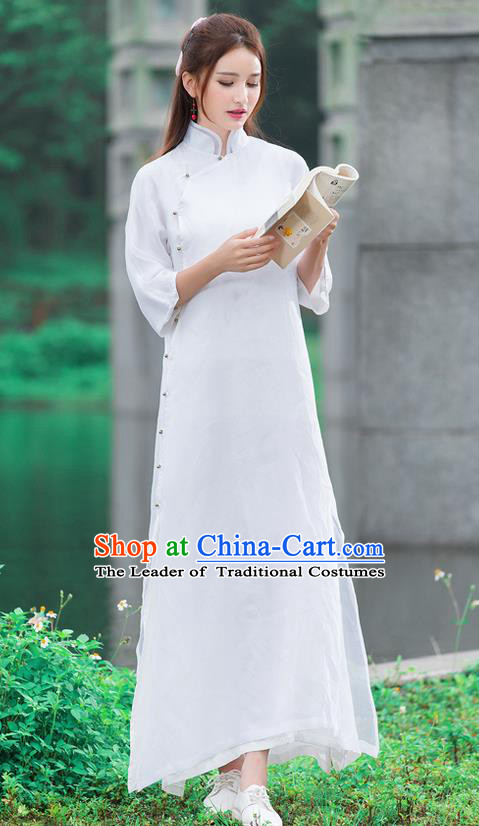 Traditional Ancient Chinese National Pleated Skirt Costume, Elegant Hanfu Organza Slant Opening Long White Dress, China Tang Suit Stand Collar Chirpaur Republic of China Cheongsam Upper Outer Garment Elegant Dress Clothing for Women
