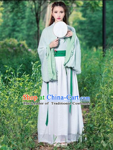 Traditional Ancient Chinese Costume, Elegant Hanfu Clothing Embroidered Wide Sleeve Cardigan Blouse and Dress, China Jin Dynasty Princess Elegant Blouse and Skirt Complete Set for Women