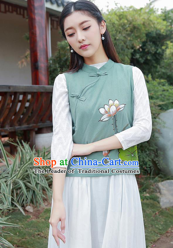 Traditional Chinese National Costume, Elegant Hanfu Painting Lotus Stand Collar Green Vest Shirt, China Tang Suit Republic of China Plated Buttons Blouse Cheongsam Upper Outer Garment Qipao Waistcoat Clothing for Women