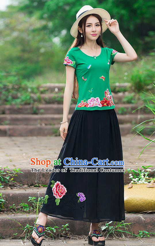 Traditional Chinese National Costume, Elegant Hanfu Embroidery Flowers Butterfly Green T-Shirt, China Tang Suit Republic of China Blouse Cheongsam Upper Outer Garment Qipao Shirts Clothing for Women