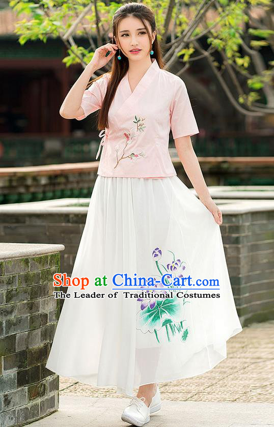 Traditional Ancient Chinese National Pleated Skirt Costume, Elegant Hanfu Chiffon Printing Lotus Long White Dress, China Tang Dynasty Bust Skirt for Women